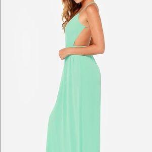 Lulu's Mint Criss Cross Open Back Dress